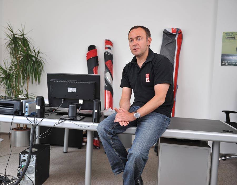Jörg Müller, Gun Sails brand manager in his office in Saarbrücken, Germany.