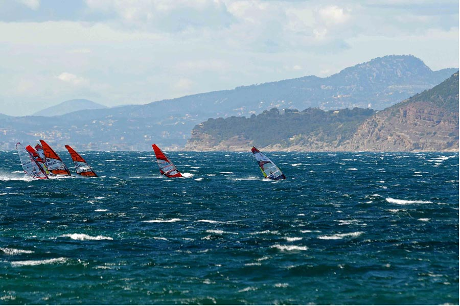 A flying start in windy conditions at Almanarre.