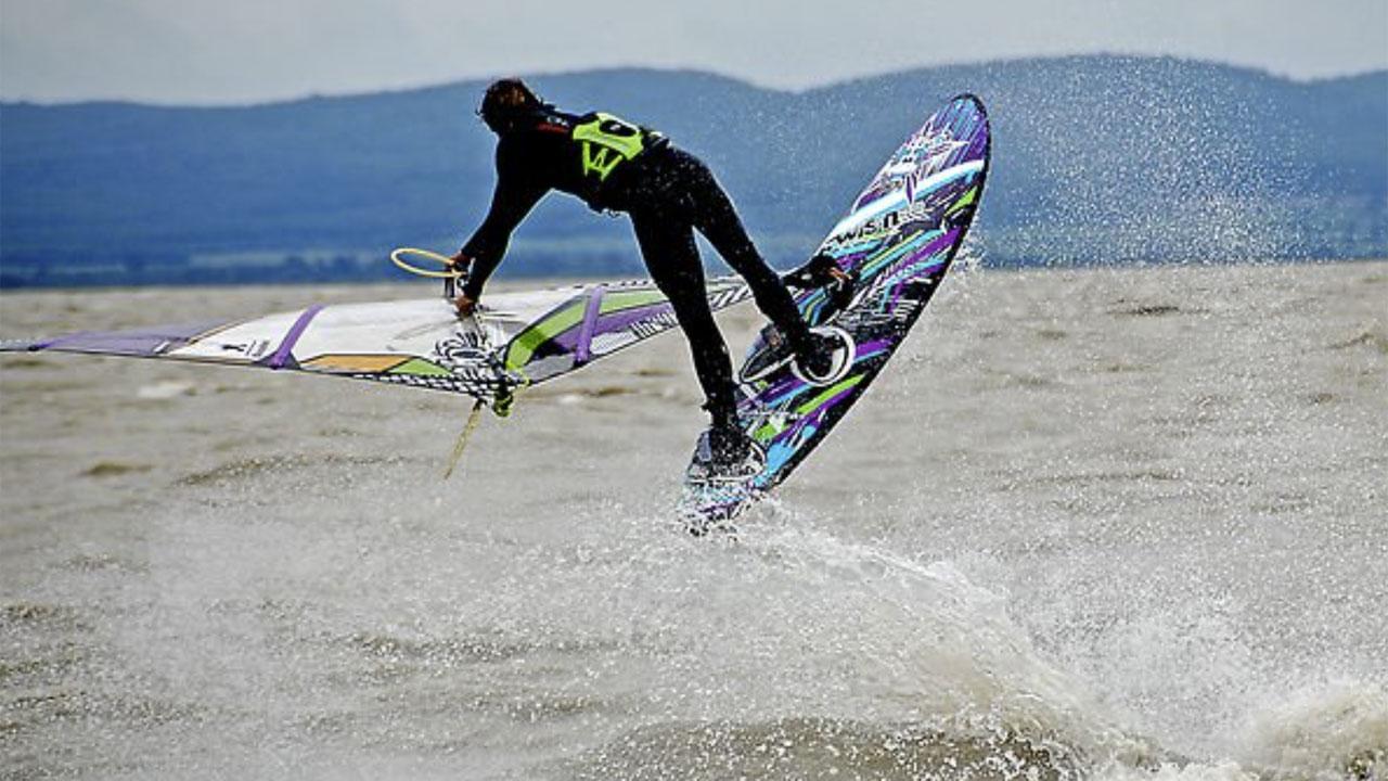 Max Brinnich windsurfing at Lake Neusiedl
