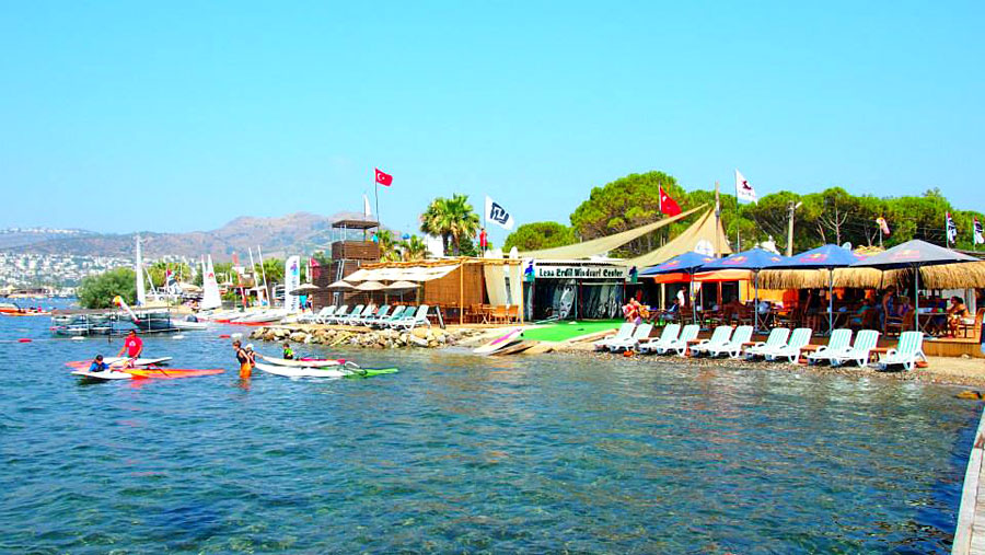 Lena's windsurfing center at Ortakent, Bodrum.