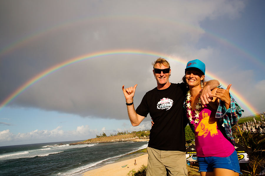 Sam and Duncan under the rainbow (Pic: Carter/PWA 2013)