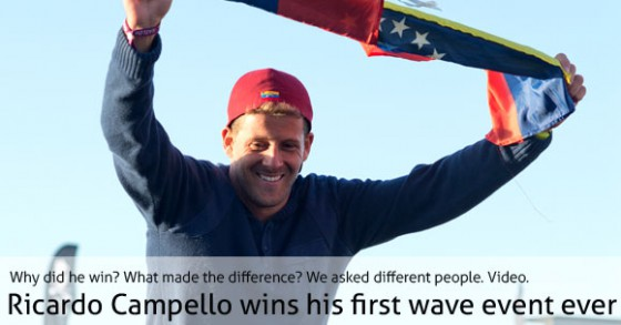 Statements about Ricardo Campello's first wave victory