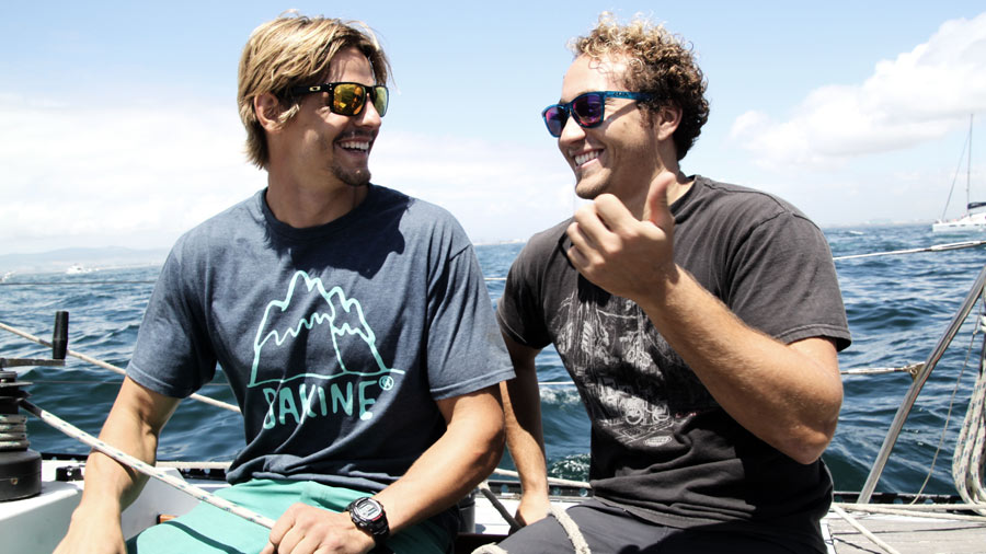 Flo Jung and Graham Ezzy on a sailing boat in South Africa