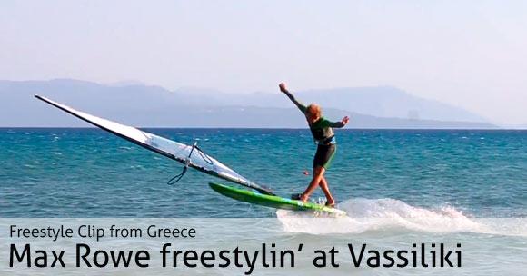 Max Rowe freestylin' at Vassiliki, Lefkas