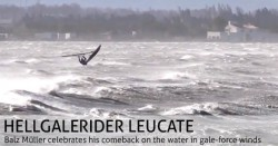 Balz Müller challenges the storm at Leucate