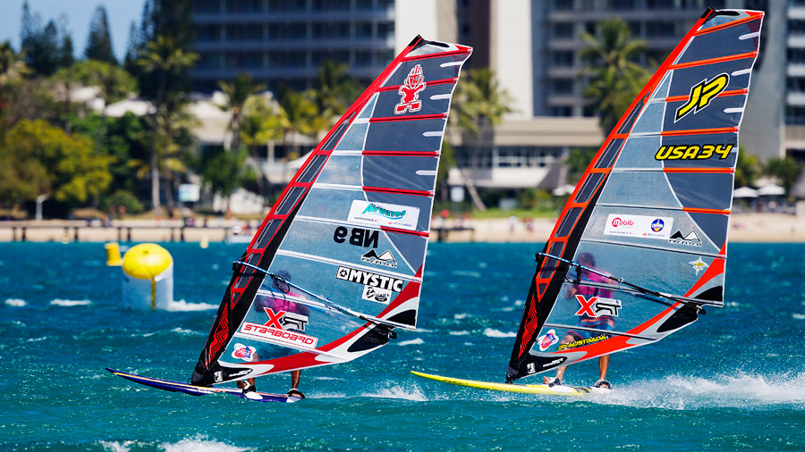 Taty Frans and Micah Buzianis at the PWA season final in Noumea still on  MauiSails (Pic: PWA/Carter)