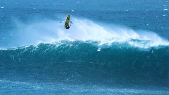 Stephane Etienne riding some big waves at Fuerteventura