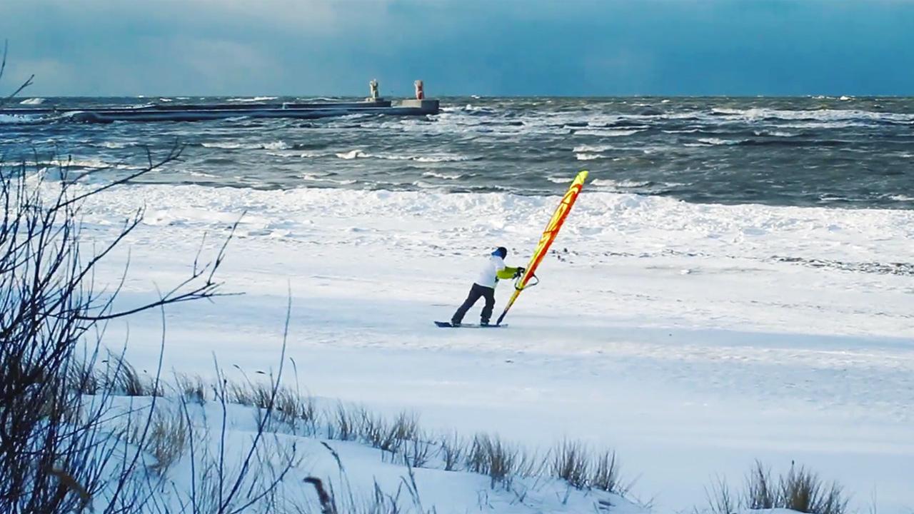 Krisjanis Tutans with snow-windsurfing action from Latvia