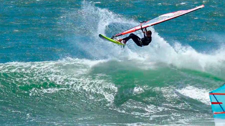 Morgan Noireaux windsurfing at California