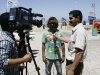 - Boujmaa getting interviewed for the TV © Pic: Maxime Houyvet/Open Ocean Media