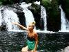 Caroline Barbeau at the beautiful waterfalls of Trou Noir (© Calvet/ Reunionwaveclassic.com)