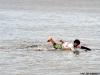 Gollito Estredo paddling back