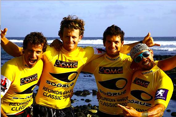The winnerteam: Pichot, Sifferlen, Fernandez & Taboulet from the left to the right (© Gilles Calvet/ www.reunionwaveclassic.com 2009)