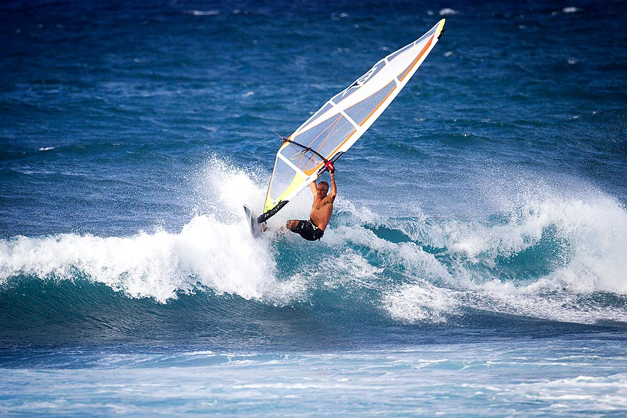 David at Ho'okipa testing one of his latest designs (Pic: Kevin Pritchard)