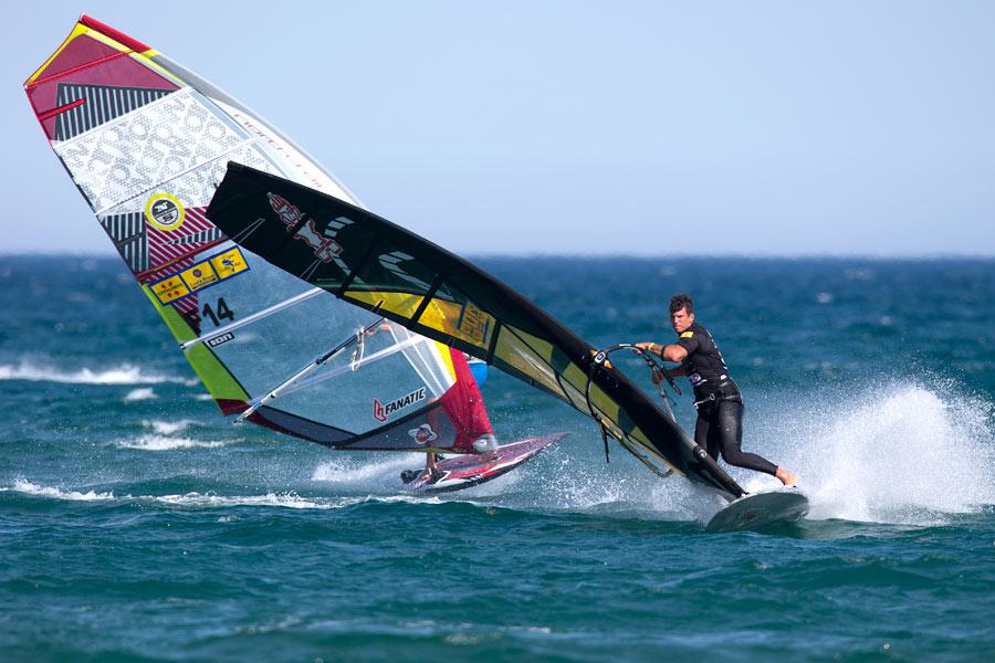 Enrico jibing first - Pic: PWA/John Carter