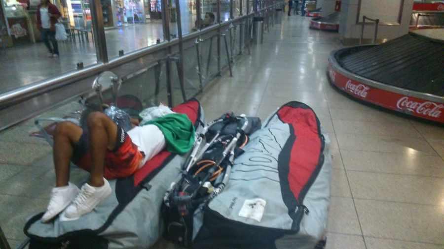 Hugo sleeping at Caracas airport