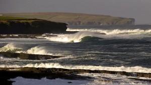 Wave windsurfing in Thurso, Scotland