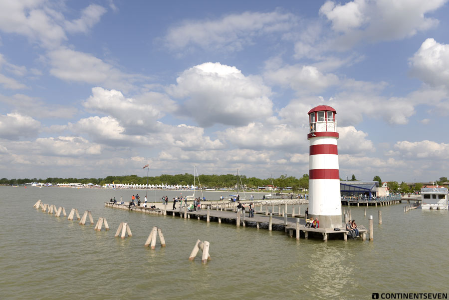 The lighthouse of Podersdorf with the event in the background