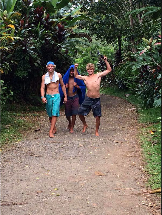 Alessio, Pablo and Moritz on their way to the water fall.