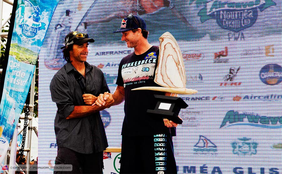 Bjoern received a lifetime award by the PWA on the final day at Noumea (Pic: Carter/PWA)