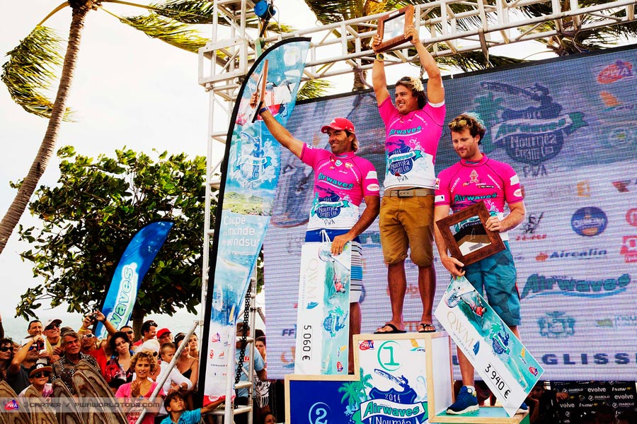 The top 3 of the event on the podium: 1. Ben van der Steen, 2. Antoine Albeau, 3. Cyril Moussilmani (Pic: Carter/PWA)