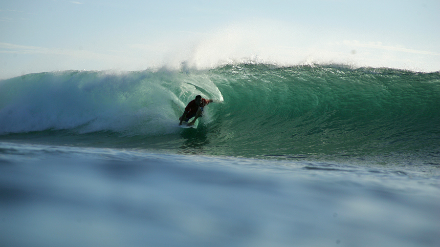 Surfing a little tube