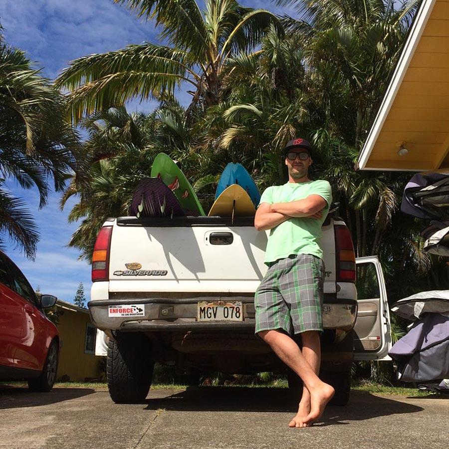 Greg Scherpe on Maui, ready for a windsurfing session