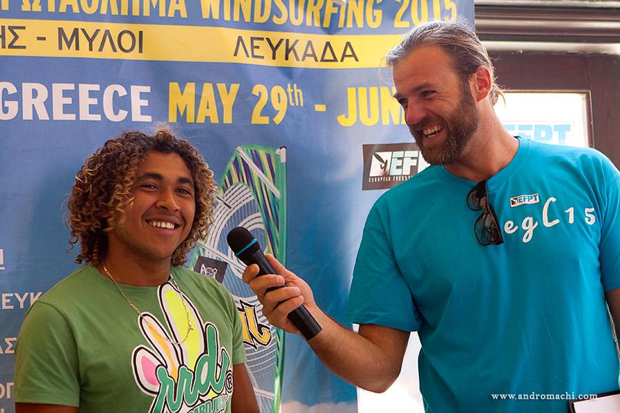 Hugo de Sousa interviewed by race director Tom Hartmann (Pic: EFPT)