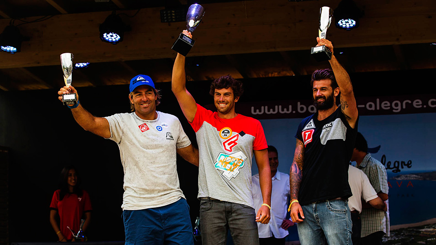 The top 3 winners on stage Matteo jibes close to the mark (Pic: Carter/PWA)
