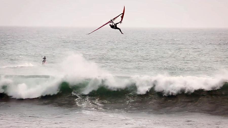 Kevin at Santa Cruz with a big one footed Backloop