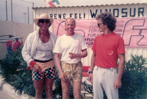 Roddy Lewis on the left, René Egli in the middle and Pascal Maka at the right hand side, at Sotavento in 1986
