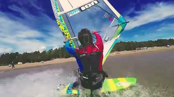 Yegor Popretinskiy windsurfs in the Gulf of Finland, Russia
