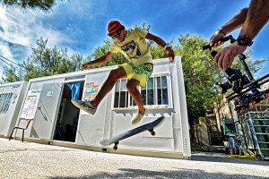 Julien Mas likes to perform tricks on the Skateboard, too (Pic: Bellande)