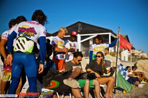 The riders and judges during a Windmeet event with Live Scoring