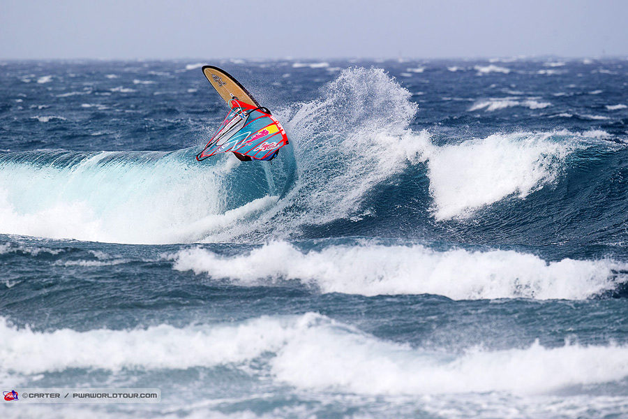 Philip Köster with a big frontside wave 360 (Pic:Carter/PWA)