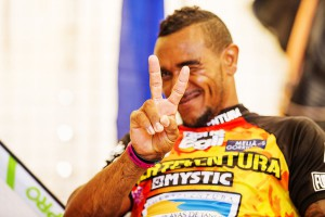 Taty Frans after his first victory of a Slalom elimination in the World Cup (Pic: Carter/PWA)