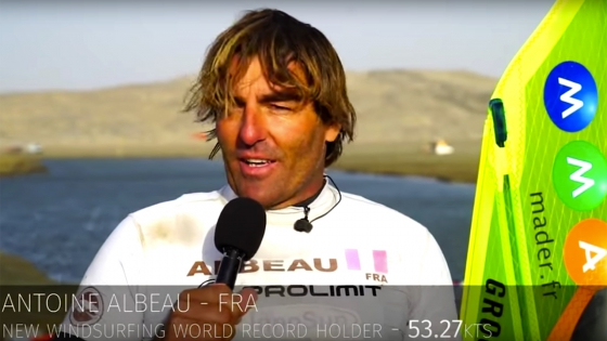 Antoine Albeau improved his old 500 m record from 52.05 knots to 53.27 knots