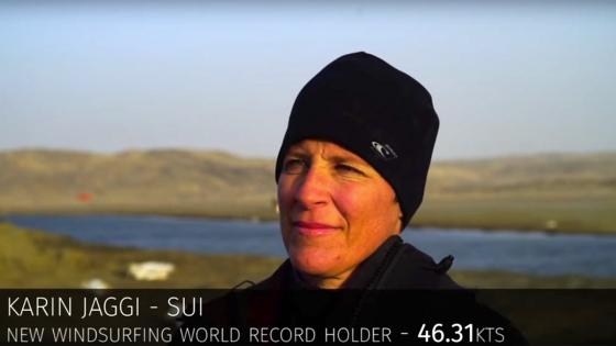 Karin Jaggi set a new 500 m world record at 46.31 knots