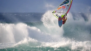 Graham Ezzy with an Aerial off the lip at Ho'okipa