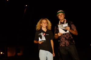 The trophies in the hands, Jake and Morgan after the 2015 Aloha Classic (Pic: Carter/PWA)