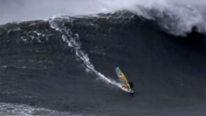 Jason Polako windsurfs at Nazare