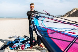 Justin Denel with his new 2016 Simmer sails