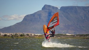 Rick Jendrusch testing a new freestyle board at Cape Town (Pic: Max Matissek)