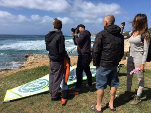 Kauli and his crew are checking the conditions at Capo Mannu (Pic: 99NoveNove)