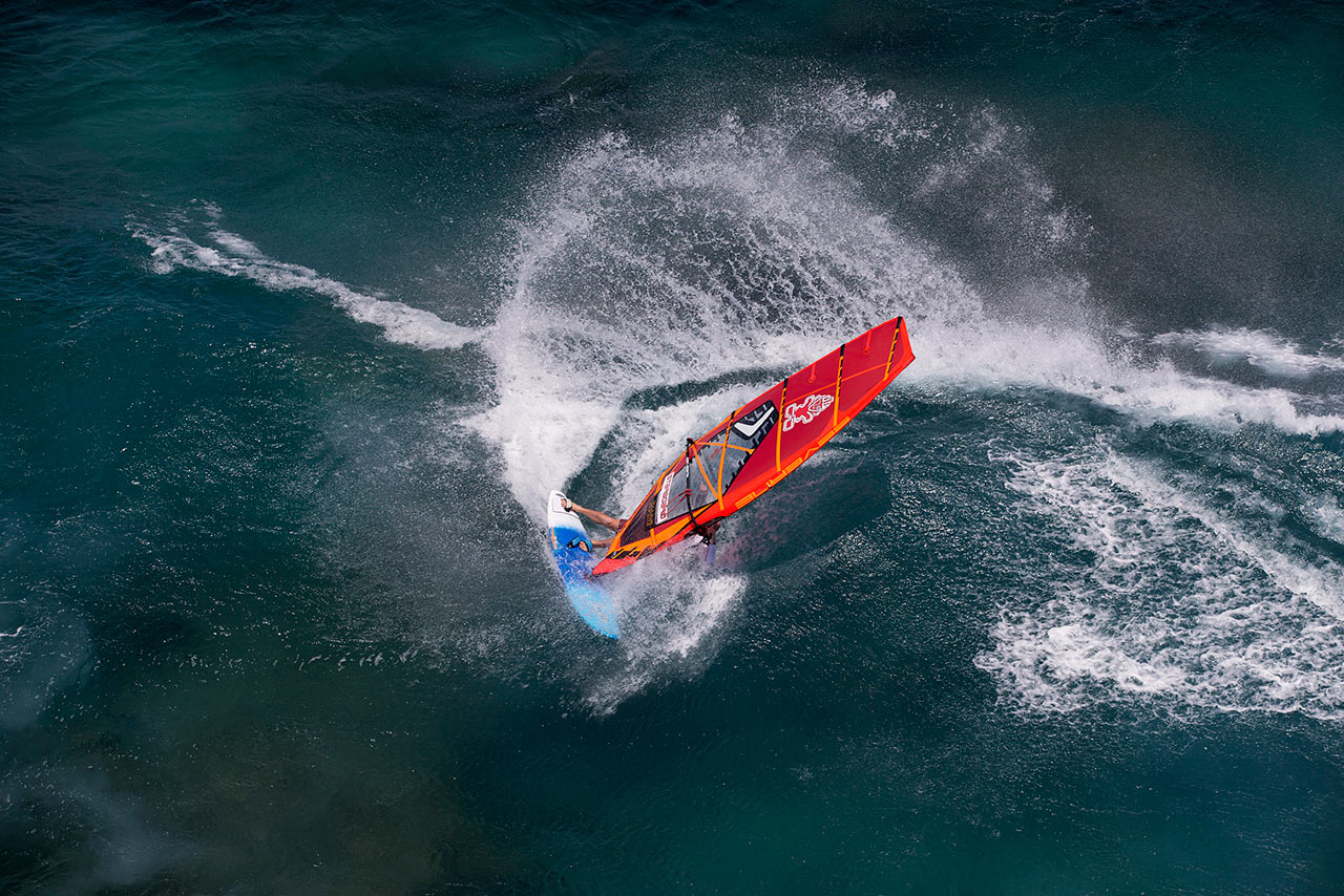 Scott McKercher with a huge spray at Ho'okipa, Maui (Pic: Starboard)