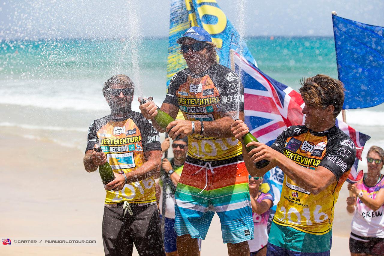 The Fuerteventura winners in the Slalom (Pic: PWA/Carter)