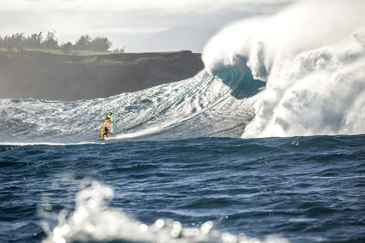 Jason on a huge monster at Jaws Pic: RedBull