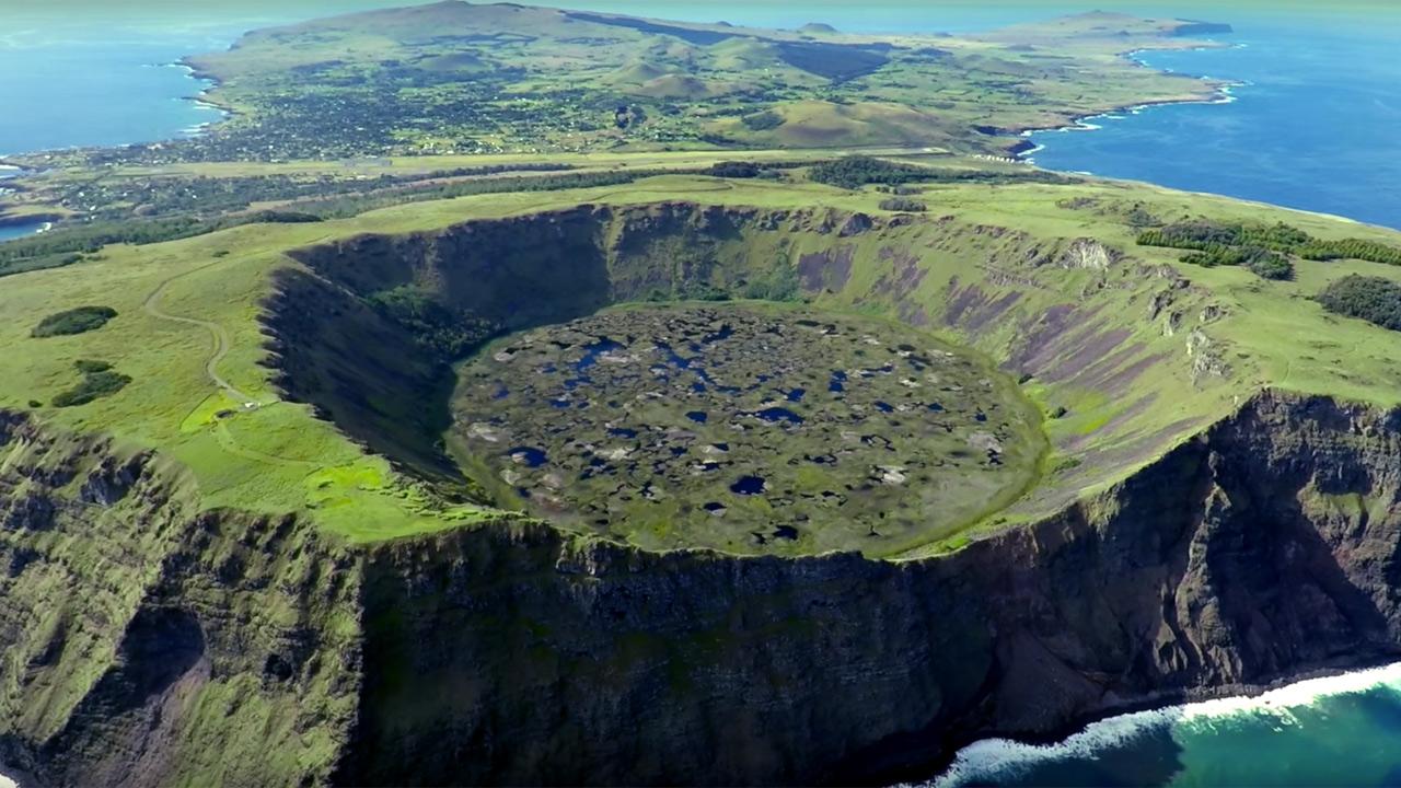 Rapa Nui island in the bird's eye view