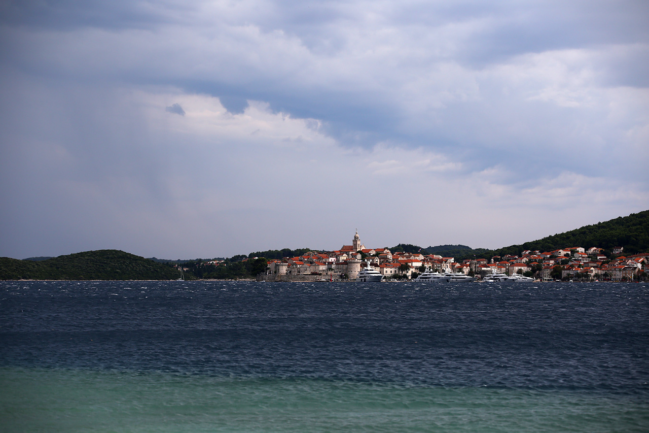 The view from Peljesac to Korcula
