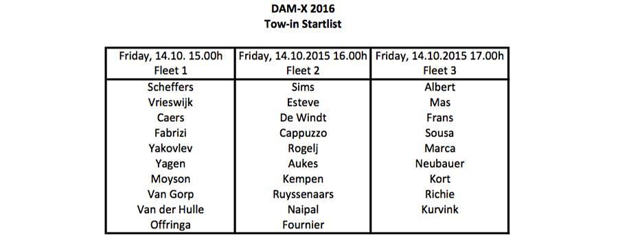 Starting list tow in at the DAMX 2016